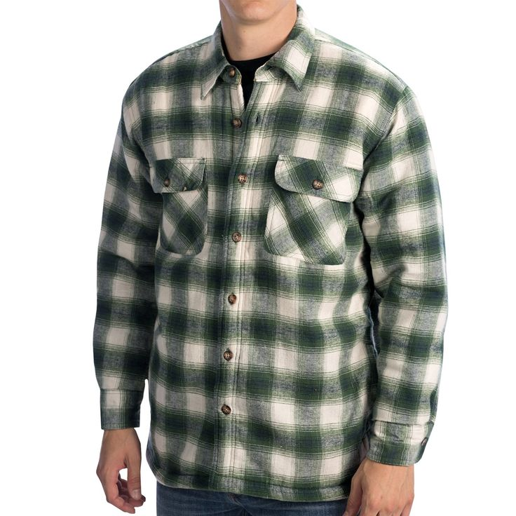 Kilimanjaro flannel shirt jacket sherpa lined for men for Mens insulated flannel shirts