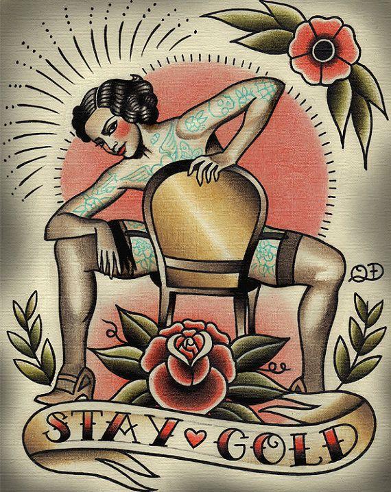 Stay Gold Tattoo Art Print van ParlorTattooPrints op Etsy, $26.00
