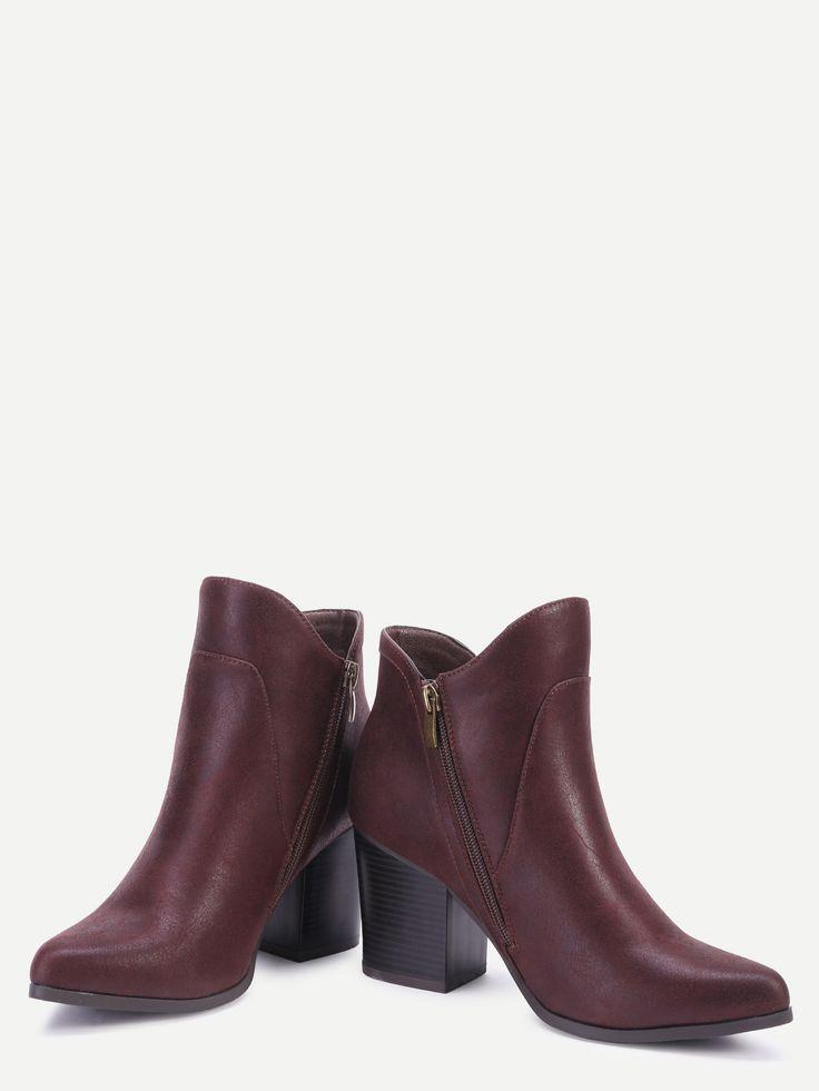 Бордовые модные PU ботинки на каблуках