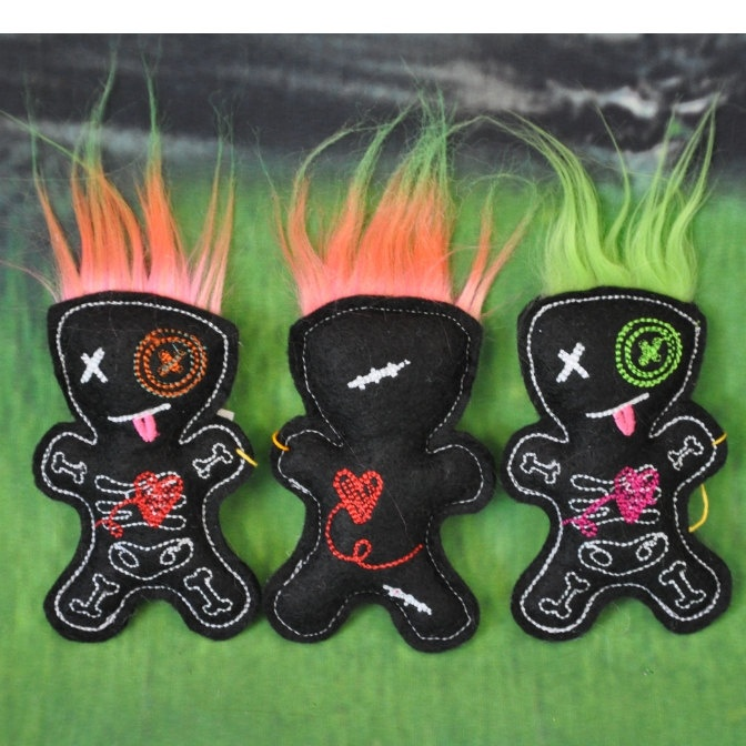 Small Embroidered Voodoo Doll Pin Cushion Stuffie