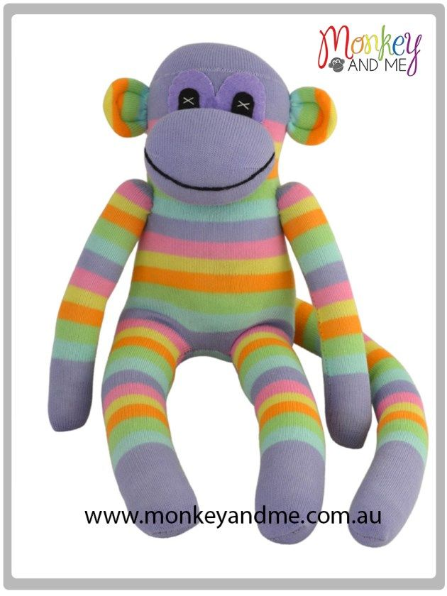 Violet the Sock Monkey Adopt over at monkeyandme.com.au #sockmonkeys #gifts #toys #monkey