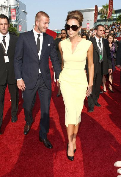 Soccer player David Beckham and wife Victoria Beckham arrive at the 2008 ESPY Awards held at NOKIA Theatre L.A. LIVE on July 16, 2008 in Los Angeles, California.