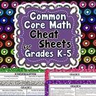 Common Core Math Cheat Sheets for Grades K-5...ALL Standar