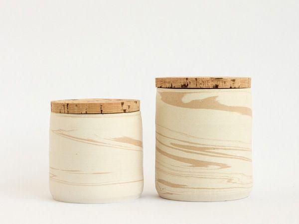 Alentejo lot of 2 small marble pots - arminho