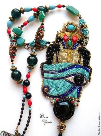 """Кулон """"Египет"""" - египетский стиль,ольга орлова,египет,кулон вышитый бисером"""
