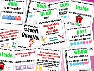 This packet contains everything you need for a topic 1  first grade Envision Math Focus Wall. Contents include:  Focus Wall Headers The Essential Question  11 Vocabulary words with defintions and pictures I can statements with pictures  All you need to do is print and laminate. Such a time saver! $