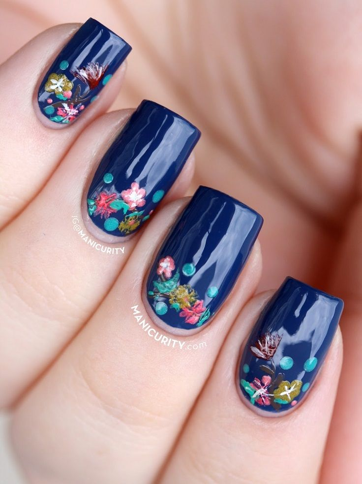 Dark Blue Flowers with Tiny Flowers