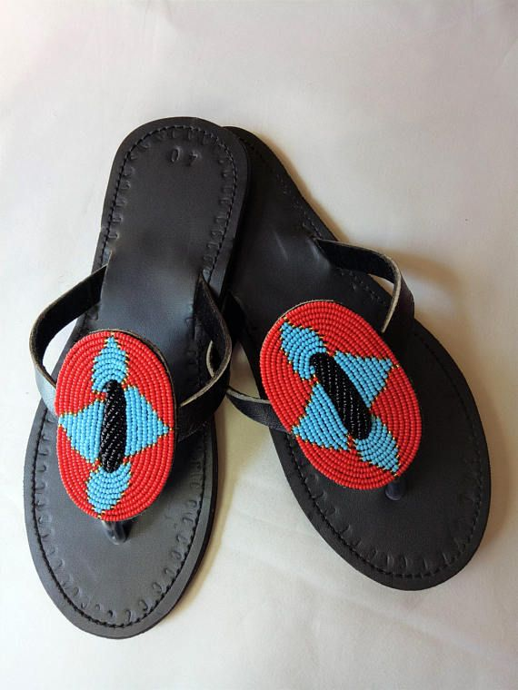 4d0fa301d0e6 Beautiful handmade leather and beaded Sandals. These beautiful leather  sandals are made in Tanzaniaby a