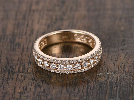 1.10ct Diamond Wedding Ring,Solid 14K Rose gold,Anniversary Ring,Eternity Band,stackable,engagement ring,Matching band,three band in whole
