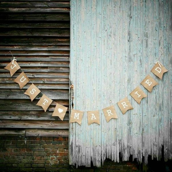 'Just Married' Shabby Chic Wedding Banner