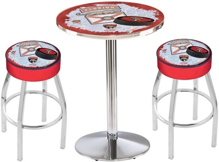 Florida Panthers NHL D2 Chrome Pub Table Set. Available with 28-inch or 36-inch diameter Table Tops. Visit SportsFansPlus.com for details.