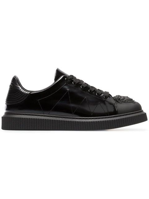 a600c1ac9a29 Versace Black Medusa Patent Leather Sneakers