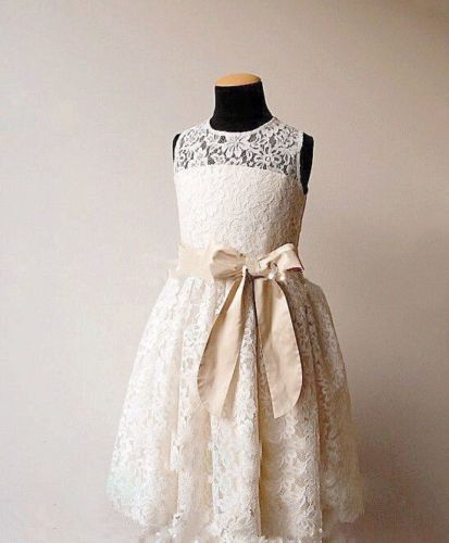 High quality soft lace Lace Girl Dress Baptism Dress-Rustic Flower Girl Girl Dress-Bridesmaid Flower Girls Summer Dress Party Dress Flower Girl