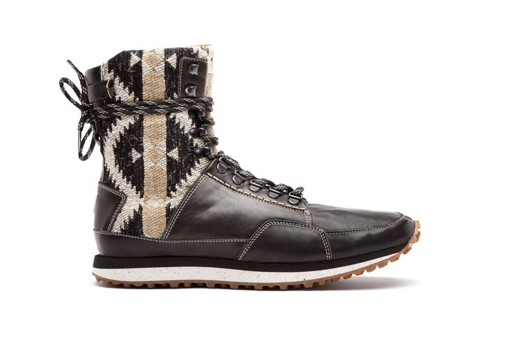 Y.O.U your own universe / AW1314 # Run Boot , leather&etno Jacquard Black&bege