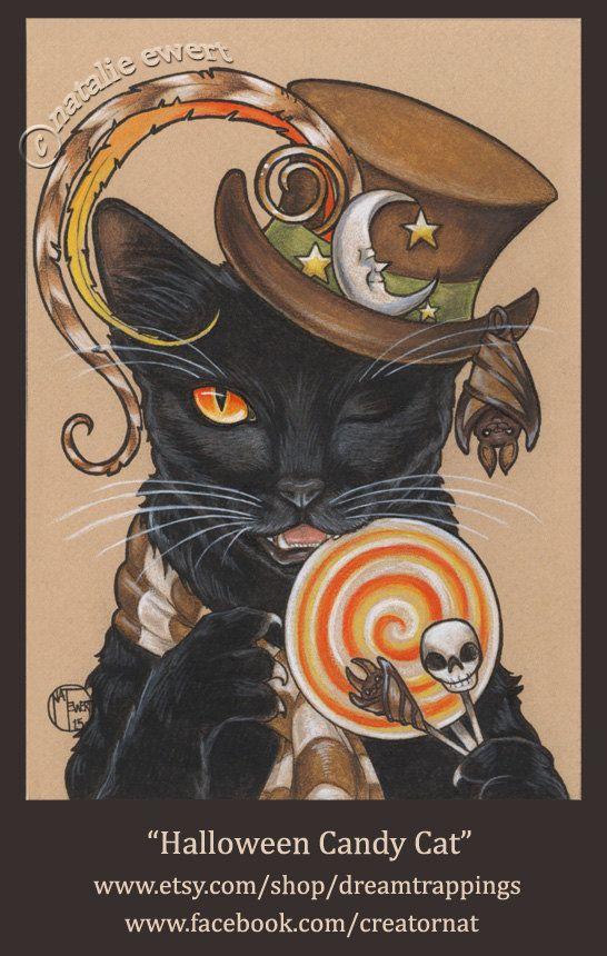 Halloween Candy Cat Art Print-u kies-2.5x3.5 5 x 7 of 8 door natamon