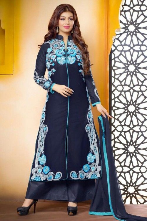 Latest, Trouser cotton cheap indian suits, Bollywood Actress Navy Blue embroidered outfit now in shop. Andaaz Fashion brings latest designer ethnic wear collection in UK   http://www.andaazfashion.co.uk/salwar-kameez/trouser-suits/bollywood-actress-navy-blue-cotton-trouser-suit-dmv14110.html