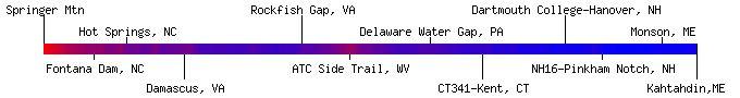 Appalachian Trail Hiking Heat Map