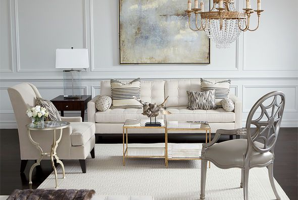 gold and silver living room decor ethan allen neutral living room idea notice the mixing of 24918