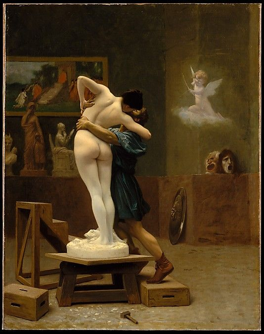 Pygmalion and Galatea, c.1890, Jean-Léon Gérôme; Cupid aims his arrow, one of his symbolic attributes, at the pair, a symbol of being struck by love. (Metropolitan Museum of Art)