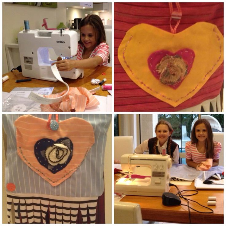"9 yr old students appliqué hearts onto their ""Sewing Spot"" beginners' hippie bags."