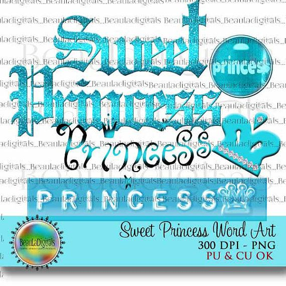 Sweet Princess Word Art  Digital Word Art  Crown by Beauladigitals