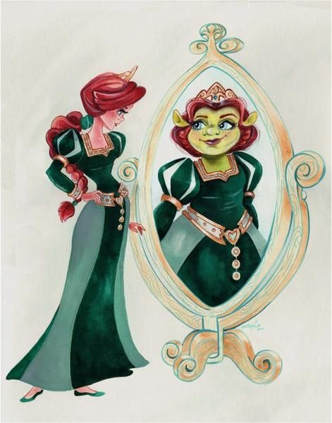 Miss Holly Lu Original Fiona Mirror Pencils on Board DreamWorks Animation Fine Art Original by Miss Holly Lu