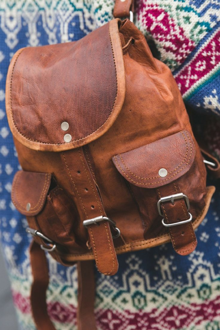 Lena - Vintage Rectangular Backpack - Gusti Leather - Gusti Leder Rectangular brown backpack in goatskin. Dimensions: (WxHxD): 20 x 24 x 12 cm (7.8 x 9.4 x 4.7 in)
