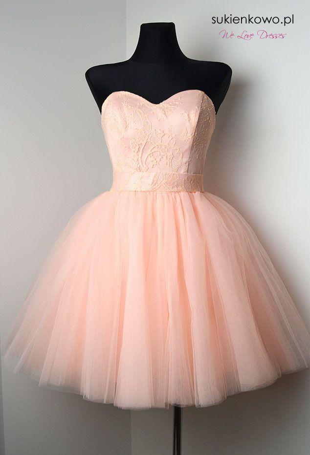 Rozkloszowana sukienka tiulowa pudrowo różowa BABYDOLL