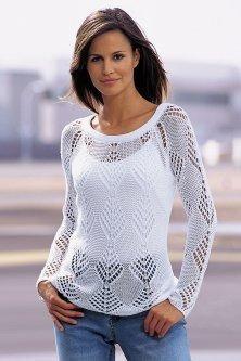 Вязание - Каталожные модели Белый джемпер ажурный тонкий