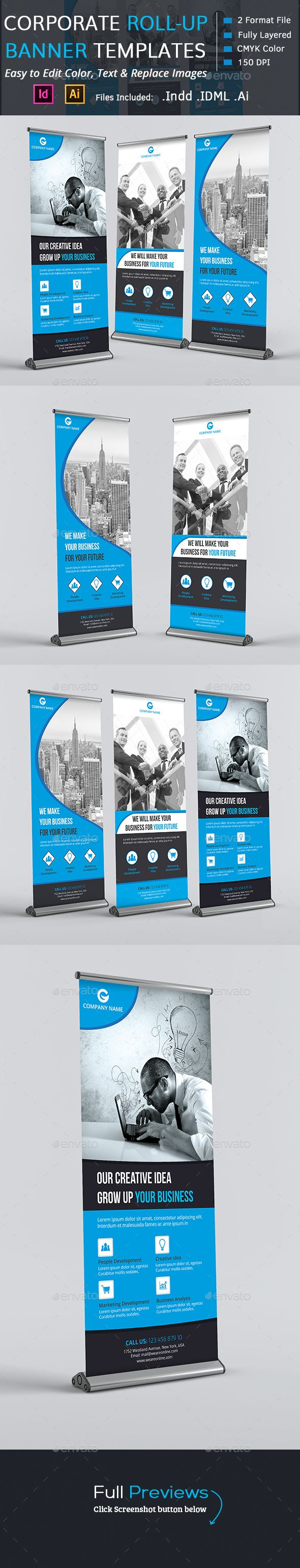Corporate Rollup Banners — InDesign INDD #global #roll up banners • Available here → https://graphicriver.net/item/corporate-rollup-banners/13922956?ref=pxcr