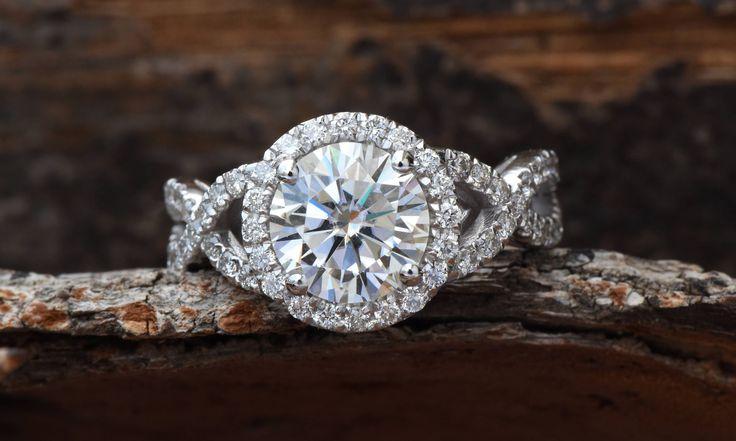 2ct Moissanite ring-Moissanite halo Engagement Ring-Celtic engagement ring-Cluster engagement ring-Promise ring-Halo diamond-Custom Ring #diamondhaloring
