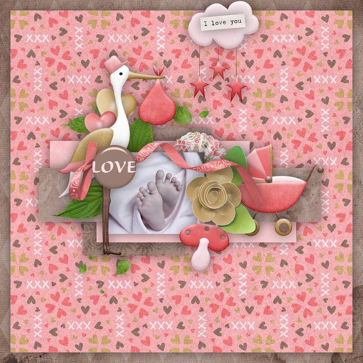 """""""Baby Girl Love"""" by Aurélie Scrap, https://digital-crea.fr/shop/index.php?main_page=index&manufacturers_id=199&zenid=bbbtspq9ovgddk9qmdqlfc52q4, photo Pixabay"""