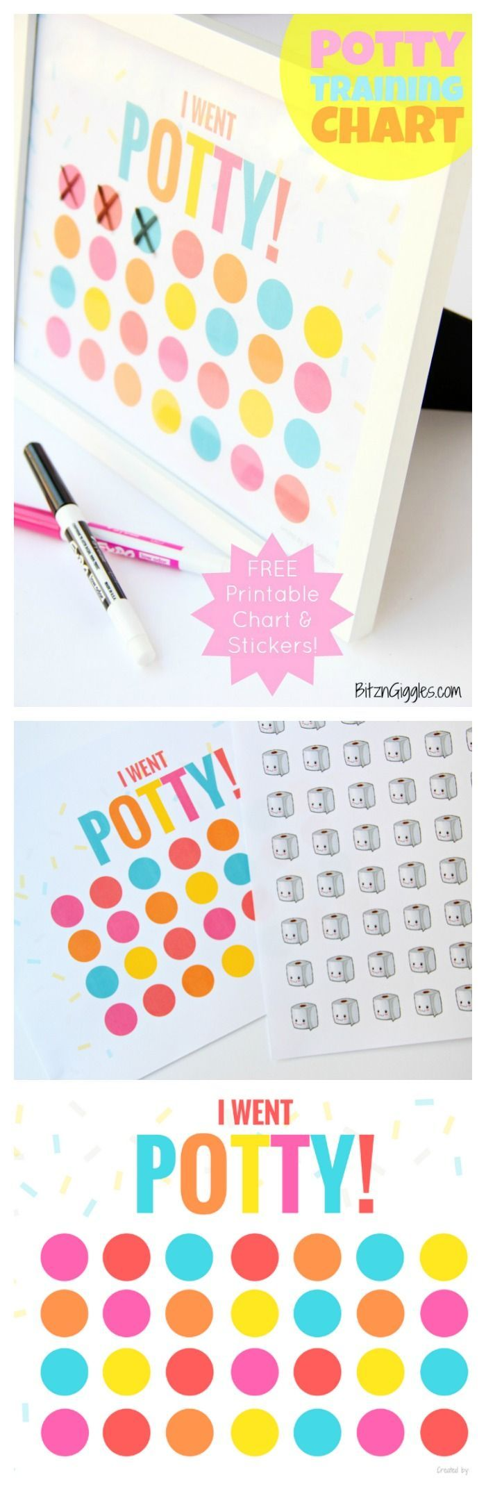 Printable Potty Training Chart - FREE, printable potty training chart! Use stickers, or frame and use a dry erase marker to mark off success. Child earns a reward when the chart is filled!