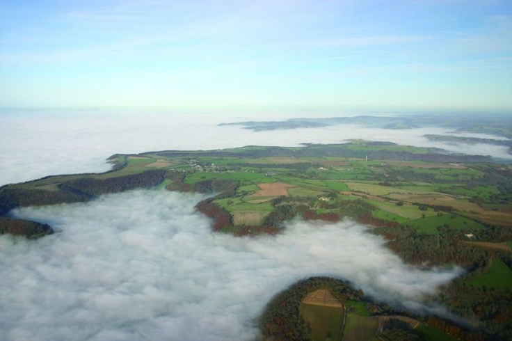 Stratus crawling over Severn Valley, Gloucestershire, England