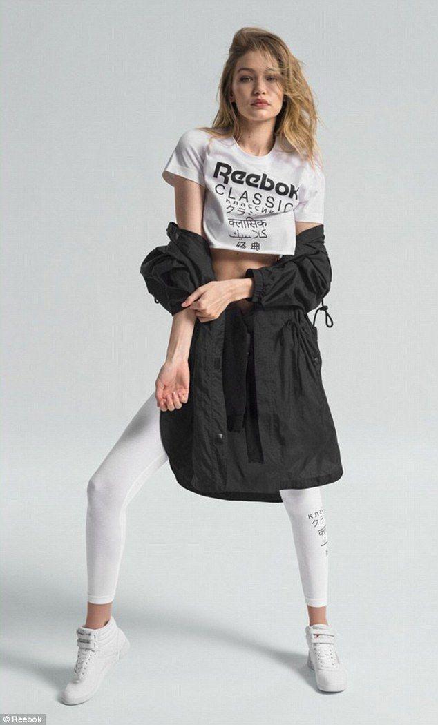 434334acc Model behavior: Hadid, 23, who was dressed in a Reebok classic crop top and  skin-tight whi... #gigihadid