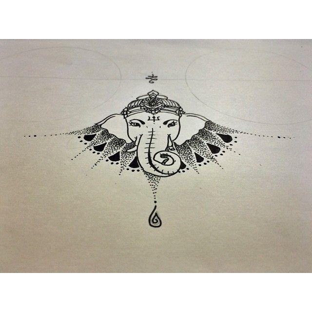 Under breast tattoo, Ganesh, Geometric tattoo