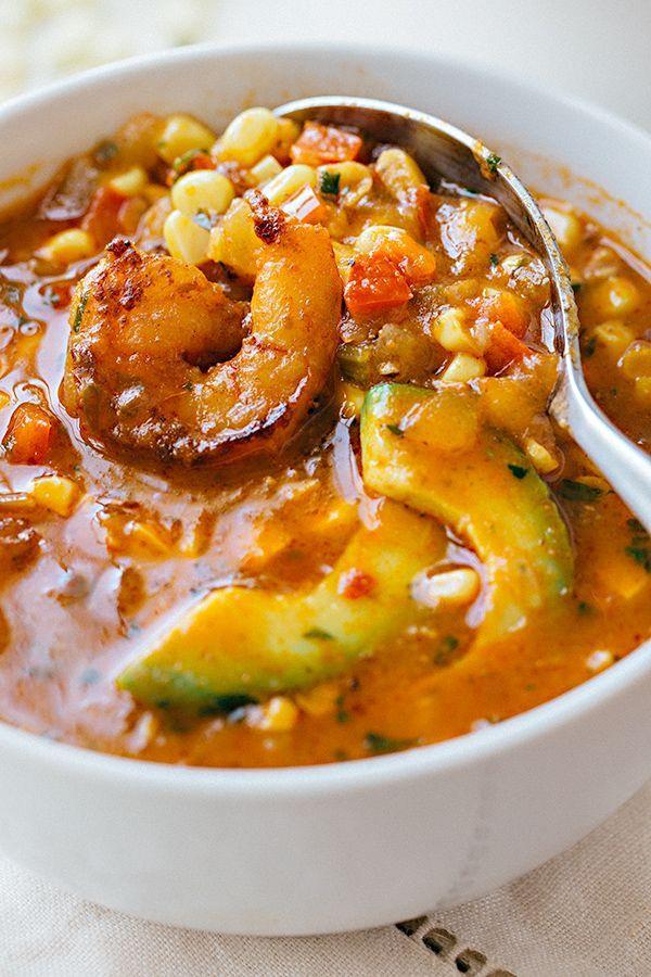 Summer Corn Soup with Shrimp | thecozyapron.com