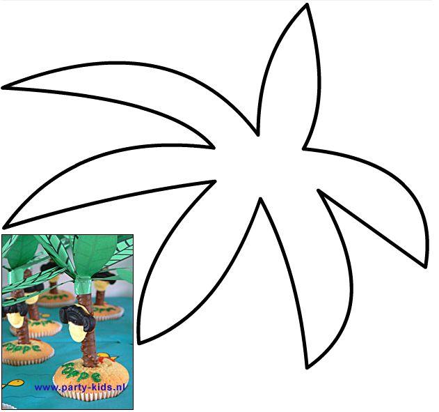 Palmboom eilanden. Nodig: Voorbeeld palmboombladeren, verkade langnekken, apenkoppen, muffinmix + ingr., glazuurstift chocola.  Werkwijze: Bereid en bak de muffins volgens de beschrijving. Print de palmbladeren op groen papier en knip deze uit. Maak in het midden een kruisje, en schuif deze over de langnek (boomstam). Plak met de glazuurstift de apenkop op de  langnek. Wanneer de cakejes zijn afgekoeld, maak je een gaatje erin en steek je de boomstam in het cakeje.