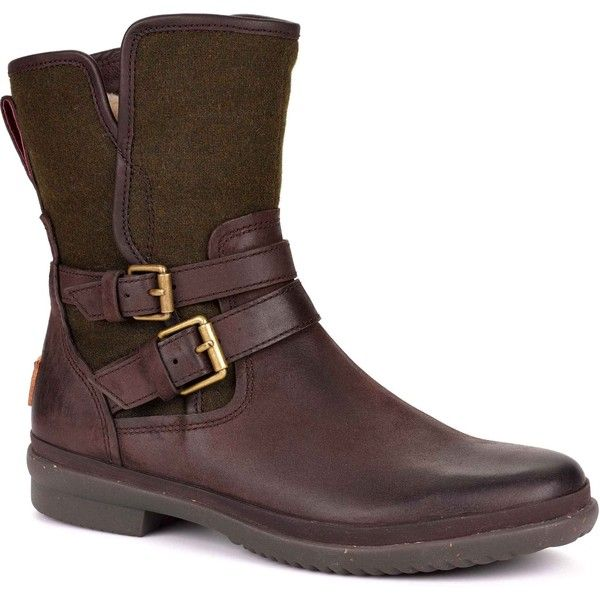 UGG Australia Women's Simmens Stout Leather/Textile Rain Boots (235 AUD) ❤ liked on Polyvore featuring shoes, boots, ankle boots, brown, brown boots, waterproof leather boots, brown rain boots, waterproof wellington boots and short leather boots