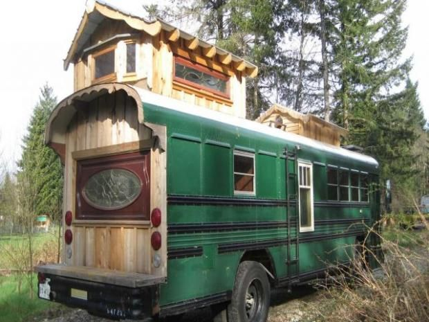 This school bus from Dallas has a loft made out of cedar.