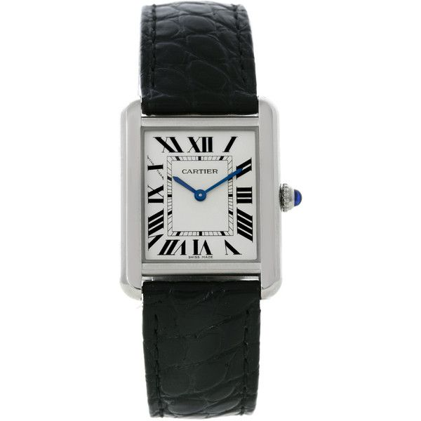 Pre-Owned Cartier Tank Solo Ladies Steel Watch W1018255 ($2,300) ❤ liked on Polyvore featuring jewelry, watches, no color, blue jewelry, black jewelry, pre owned jewelry, dial watches and cartier watches