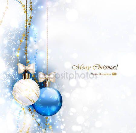Скачать - Синий рождественский фон с две рождественские безделушки — стоковая иллюстрация #33361931