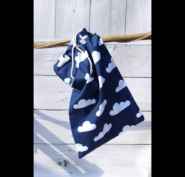 Playful dark blue shoe bag / clothing bag with cloud pattern – a unique product by Tu-Mamafaktura via en.DaWanda.com