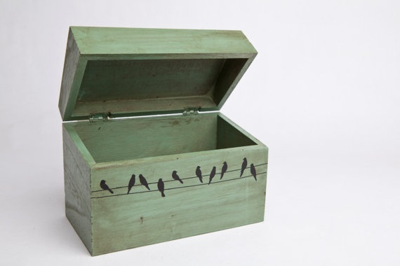 Birds on a Wire Recipe Box Green by HomeMadePerfect on Etsy, $28.00: Wire Recipe, Recipe Box, Craft Ideas