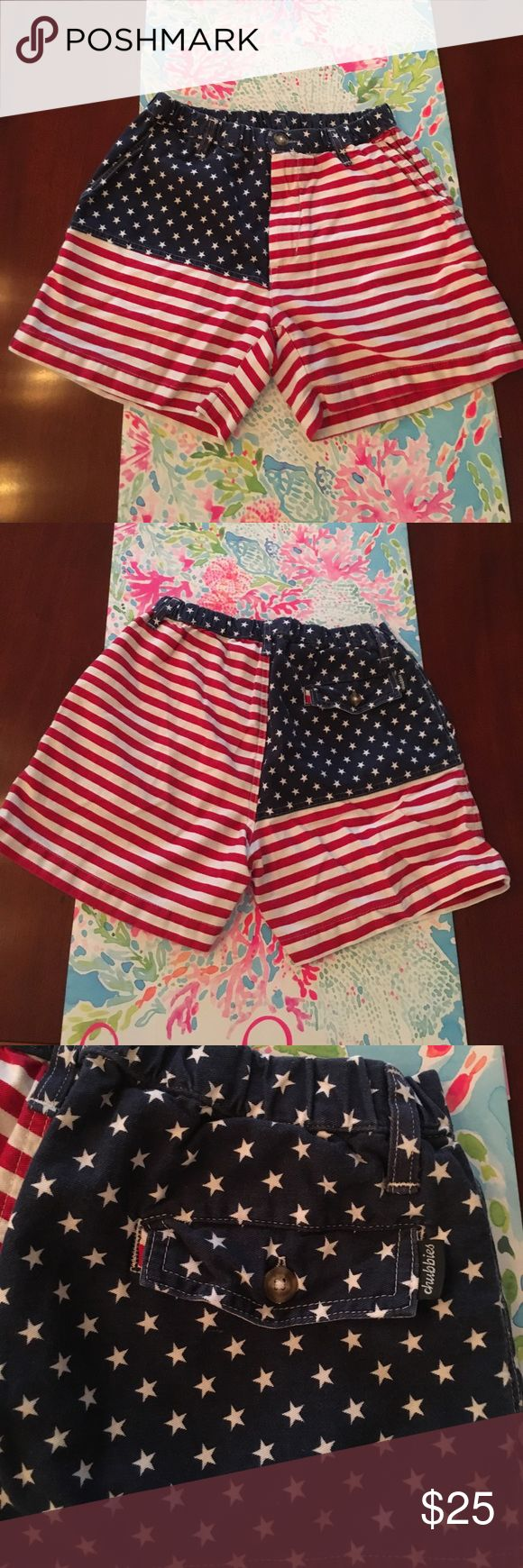 Chubbies Mericas shorts size small men's Size small Chubbie's men's shorts. Size small. American flag pattern. Four 4 inch inseam. Belt loops. Made in the USA. Button and zipper front. Three functional pockets. Back pocket buttons shut. On the inside, the back pocket says the name of the shorts and the size. Excellent condition only worn once. Preppy men's shorts. Super fun for any American holiday. Red white and blue Chubbie's Shorts Flat Front