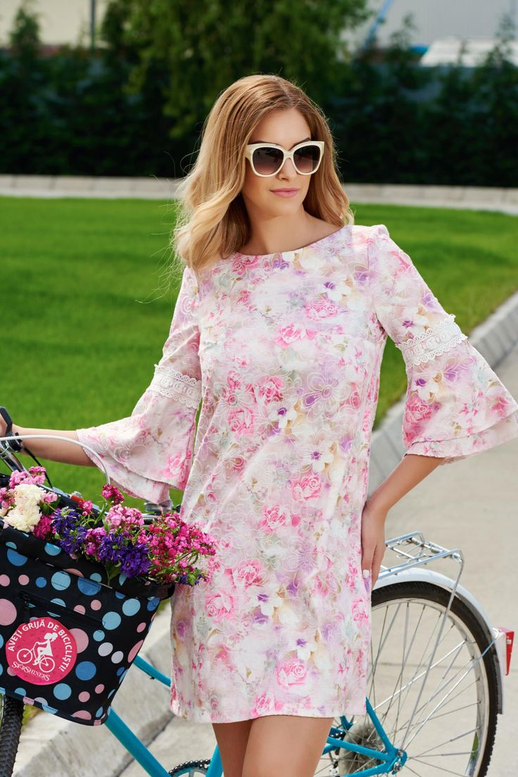 """StarShinerS Greatly Pink Dress, floral prints, embroidery details, """"butterfly"""" type sleeves, back zipper fastening, nonelastic fabric"""
