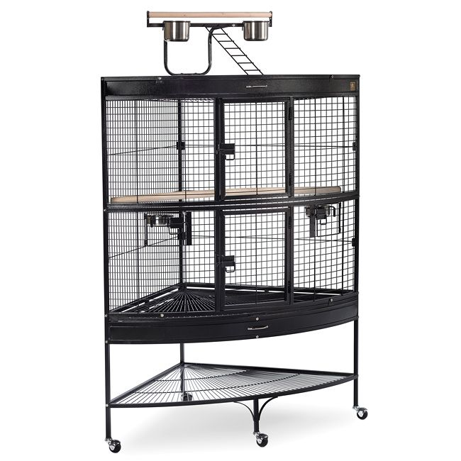 This space-saving large corner bird cage is the perfect home for your feathered friends. This stylish parrot cage has lots of room for your bird to live and play and features a fun cage-top play stand to increase your birds living space.