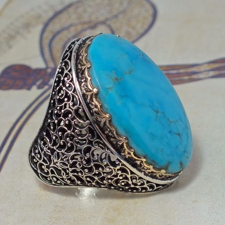 Sterling Silver Mens Ring with natural Turquoise - big persian firoza large ring #KaraJewels #Handcrafted