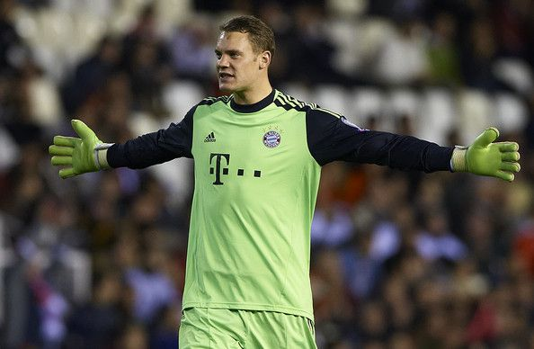 Goalkeeper Manuel Neuer of Bayern Muenchen celebrates after his team's first goal is scored during the UEFA Champions League group F match between Valencia CF and FC Bayern Muenchen at Estadio Mestalla on November 20, 2012 in Valencia, Spain.