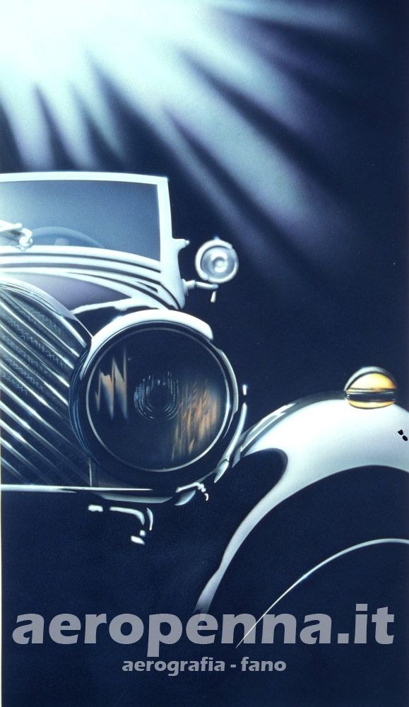 Airbrush illustration auto d'epoca, illustrazione ad aerografo